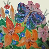 Afabetul pentru copii - Litera F - Fluture şi Floare