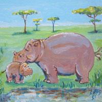 Afabetul pentru copii - Litera H - Hipopotam